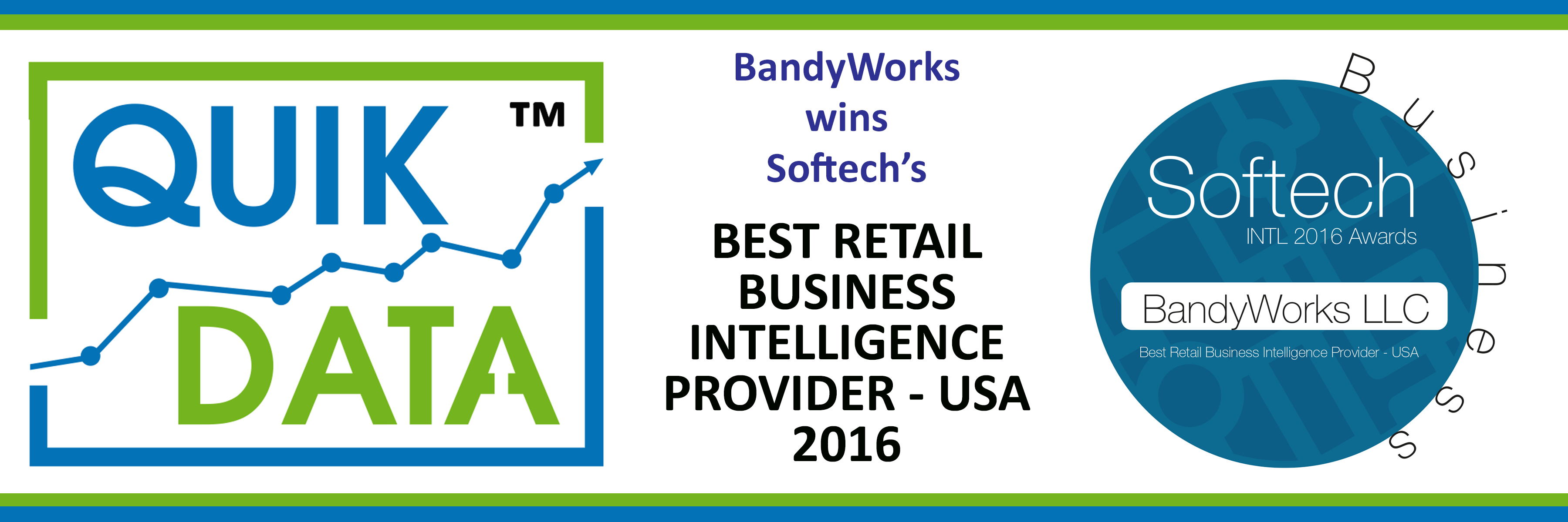 """BandyWorks has been Awarded as Softech's 2016 """"Best Retail Business Intelligence Provider USA""""!"""