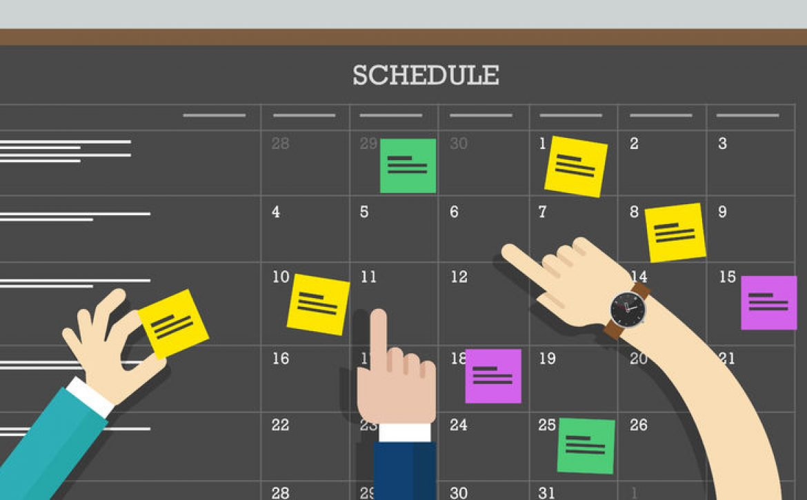 40593588 - calendar schedule board with hand collaboration plan board